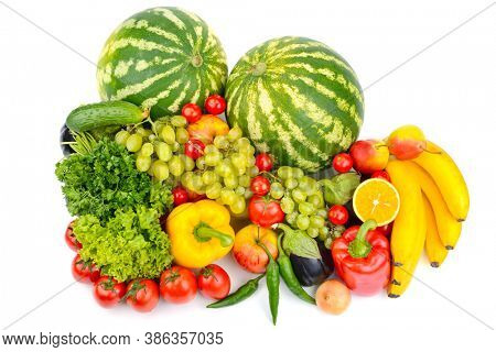 Top view of healthy fruits and vegetables isolated on white background.