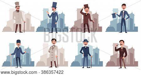 Gentlemen Dressed In 19th Century Fashion, Flat Vector Illustration Isolated.