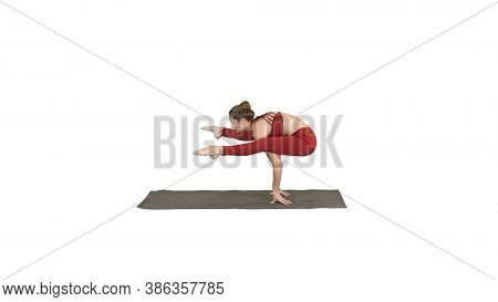 Beautiful Woman Practices Handstand Yoga Asana Tittibhasana - Fi