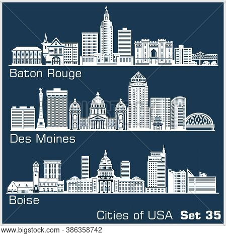 Cities Of Usa - Baton Rouge, Des Moines, Boise. Detailed Architecture. Trendy Vector Illustration.