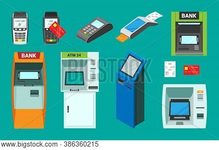 Banking And Pos Terminals Isometric Set. Electronic Atm For Accepting Dispensing Cash Transactional