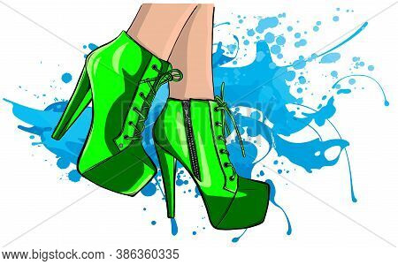 Elegant Sexy Women High Heel Shoe Vector Isolated Vector Illustration