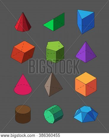 Geometric Shapes Isometric Set. Pyramidal Red Polygons Orange Squares And Rectangles Polyhedral Diam