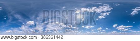 Seamless Blue Sky Hdri Panorama 360 Degrees Angle View With Beautiful Clouds With Zenith For Use In