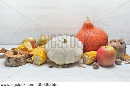 Various And Colorful Autumnal Vegetables And Fruits