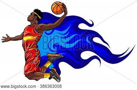 Basketball Player Jumps To Dunk Vector Illustration Art