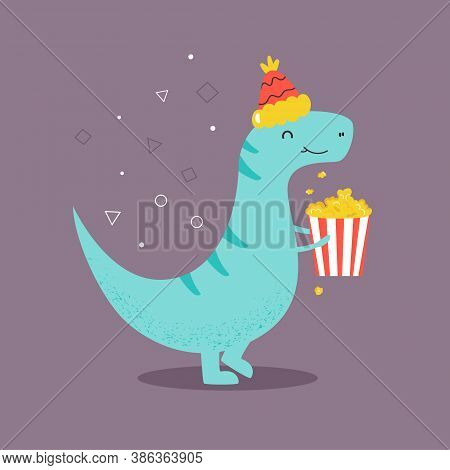 Funny T-rex Eating Pop Corn. Vector Illustration