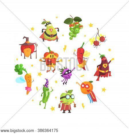 Superhero Vegetables Pattern Of Round Shape, Funny Vegetables Dressed In Superhero Costumes Design C