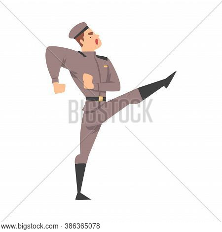 Army Soldier Marching, Infantry Military Man Character In Uniform Cartoon Style Vector Illustration