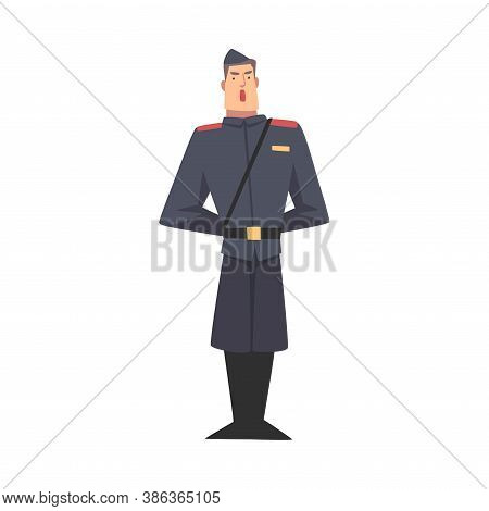 Army Soldier, Infantry Military Man Character In Blue Uniform And Cap Cartoon Style Vector Illustrat