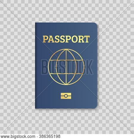 International Passport Cover Red And Blue Template. Vector Biometric Citizen Passports Cover With Ma