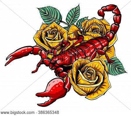 Scorpion And Roses - Color Tattoo, Vector Illustration