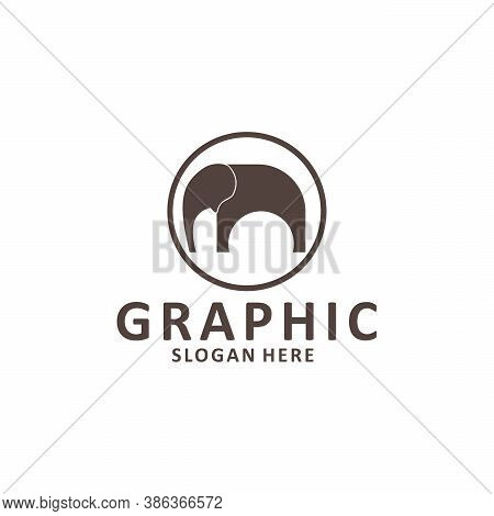 Elephant Outline Logo, Simple Vector Illustration Of The Elephant