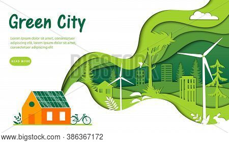 Urban Green City Concept. Huge Green Wave With Green City And Nature Pictured Inside Connecting To T