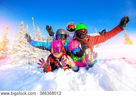 Group Happy Friends Man Snd Woman Snowboarders And Skiers Having Crazy Fun Ski Resort Winter Forest