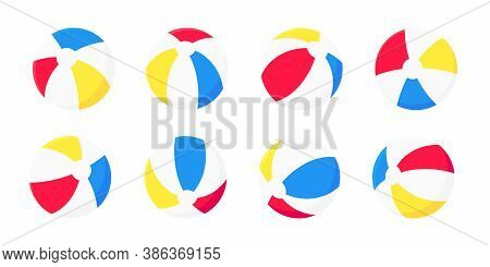Inflatable Beach Ball Flat Style Design Vector Illustration Collection Set Isolated On White Backgro