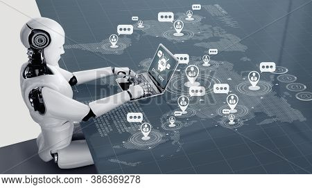 Ai Robot Using Computer To Chat With Customer. Concept Of Chat Bot Service Providing Help And Smart