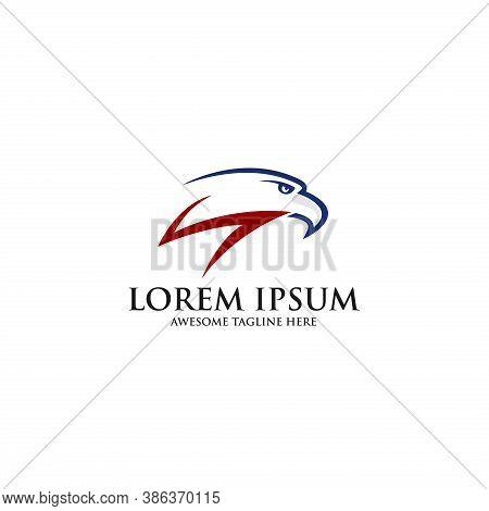 Creative Eagle Logo. Eagle Bird Head Vector Logo Template. Falcon Or Hawk Logo. Good For A Mascot, D