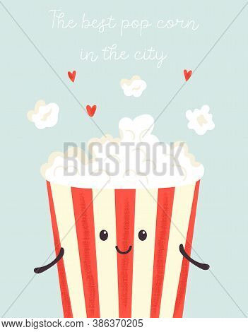 Happy Bucket Of Popcorn, Cheerful Character. Vector Illustration For Your Design