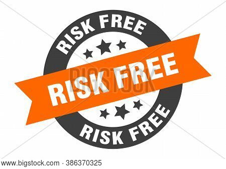 Risk Free Sign. Round Ribbon Sticker. Isolated Tag