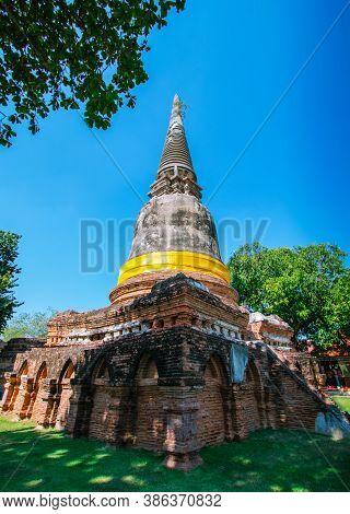 Pagoda At Wat Yai Chai Mongkol In Phra Nakhon Si Ayutthaya Province, Thailand