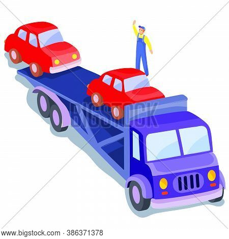 Car Transportation By Car, Man Helping To Unload The Goods, Isolated Object On White Background, Vec