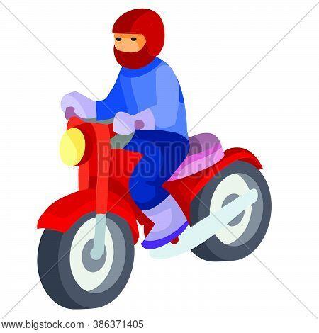 Motorcyclist, Cartoon Illustration, Isolated Object On White Background, Vector Illustration, Eps