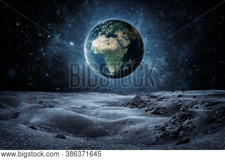 3d Render Of Planet Earth Seen Fron The Moon Surface With Copy Space