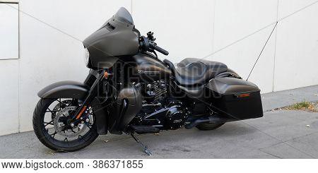 Bordeaux , Aquitaine / France - 09 20 2020 : Harley Davidson Black Bike Electra Road Glide Motorbike