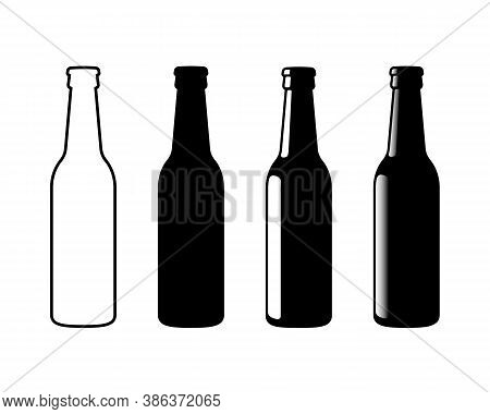Beer Bottle Vector Icon. Lemonade Soda Drink Symbol. Bar Or Pub Sign. Brewery And Restaurant Logo. B