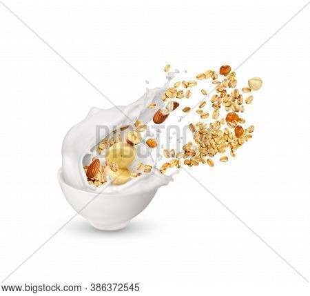Oatmeal With Nuts And Milk On A White Plate. Oatmeal With Milk And Raisins.