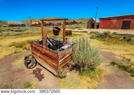 Water Well Of The Ancient 1800s Buildings In Bodie State Historic Park, California Ghost Town. Unite