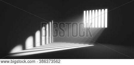 Light behind prison cell bars. Jail punishment and imprisonment concept. 3D illustration