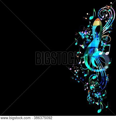 Music Promotional Poster With G-clef And Musical Notes Vector Illustration. Artistic Abstract Backgr
