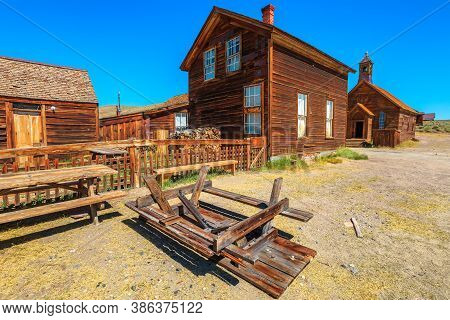 1800s Houses In The Main Street Of The Bodie State Historic Park, California Ghost Town, Close To Yo
