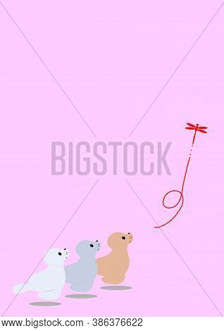 Seal And Dragonfly Panda Figurine On Pink Background.