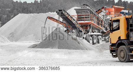 Stone Open Pit. Quarry Gravel Shredding For Construction
