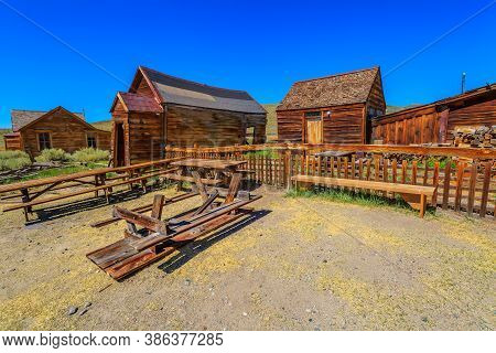 Cityscape And Houses Of Wood In The 1800s In Bodie Californian Ghost Town, Close To Yosemite Nationa