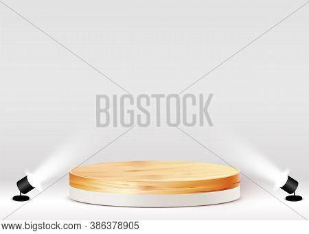 Abstract Scene Background. Cylinder Wood Podium On White Background. Product Presentation, Mock Up,