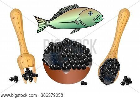 Caviar Set Isolated On White Background. Bowl, Fork, Spoon With Black Caviar And Fish. Salty Food, E