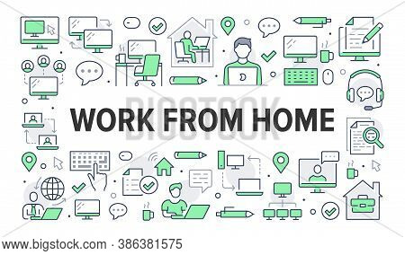 Work From Home Concept With Line Icons. Vector Horizontal Illustration Included Icon As Freelance Wo