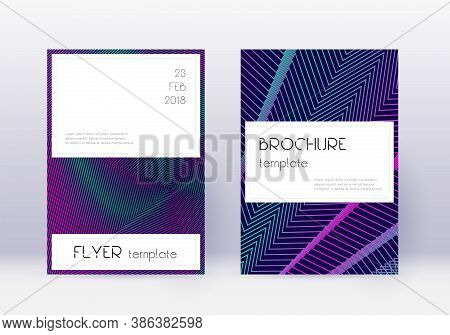 Stylish Cover Design Template Set. Neon Abstract Lines On Dark Blue Background. Fetching Cover Desig