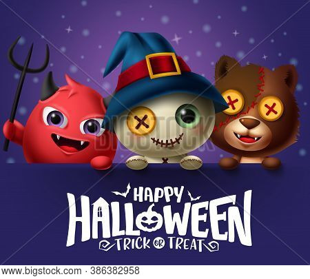 Happy Halloween Vector Background Template. Happy Halloween Text With Creepy Face Teddy Bear, Demon