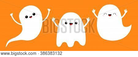 Three Ghost Spirit Set Line. Scary Flying White Ghosts. Boo. Cute Cartoon Kawaii Spooky Baby Charact