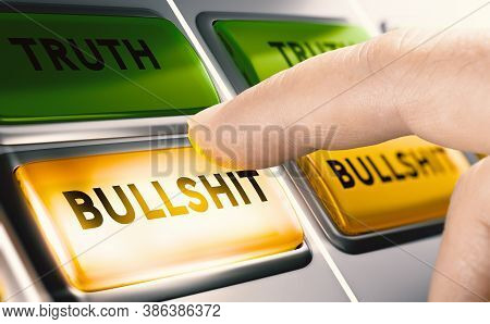 Finger Pressing A Yellow Bullshit Button To  Report Fake News. Disinformation Or Misinformation Conc