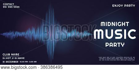 Music Party Sound Wave Pattern Design Midnight Concept. Vector Illustration.