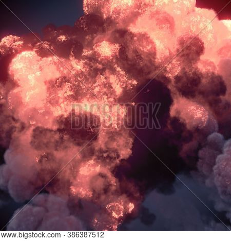 Real Giant Fire Explosions With Dark Smoke Trails. 3d Rendering Digital Illustration Background. Bur