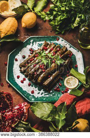 Turkish Meze Sarma Wine Leaves With Rice And