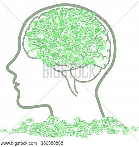 Concept Vector About Business And Making Money: Man Profile With Brain Full Of Dollars.