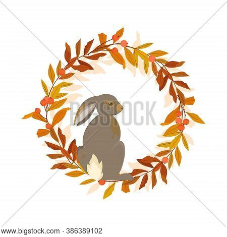 Autumn Wreath With Rabbit And Colorful Leaves. Vector Illustration.